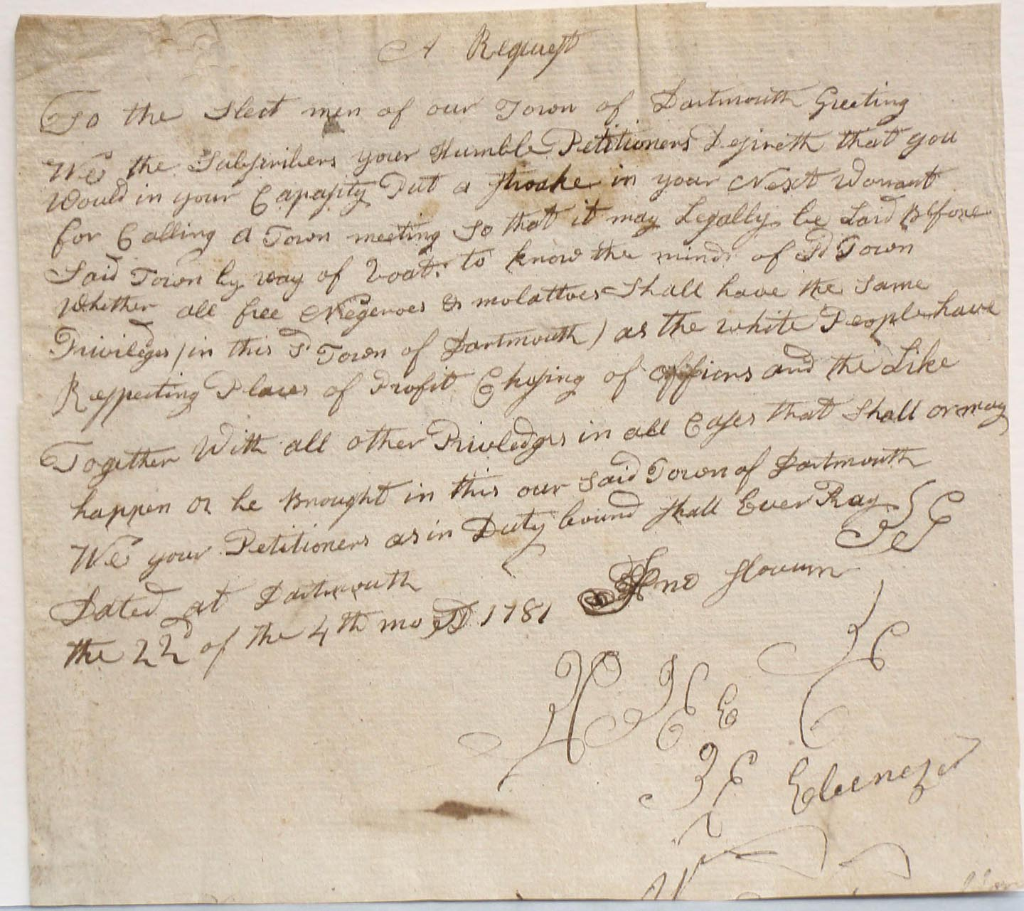 A request to the selectmen of Dartmouth, 22 April 1781, draf