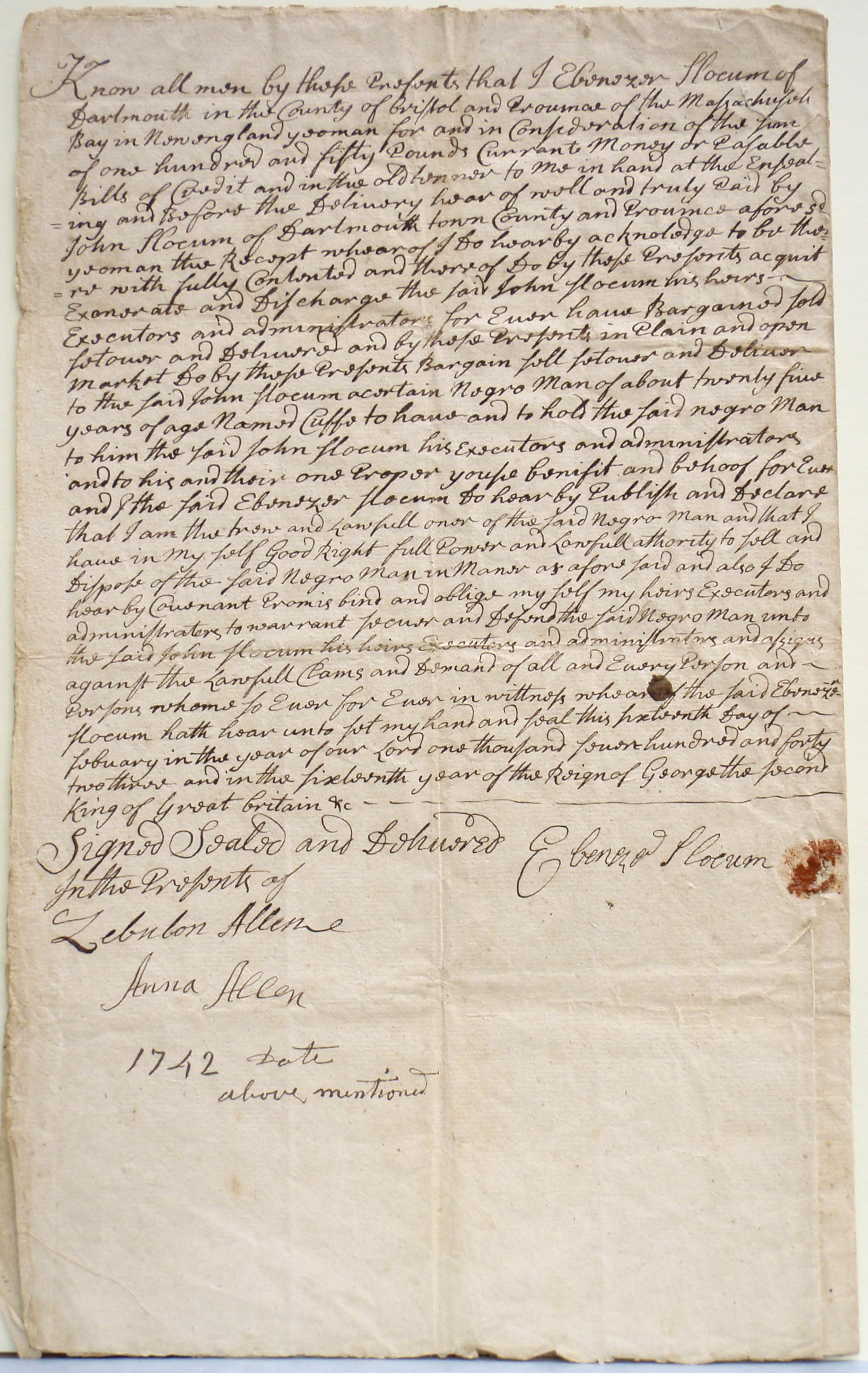 Bill of sale of Cuffe Slocum, Ebenezer Slocum to John Slocum