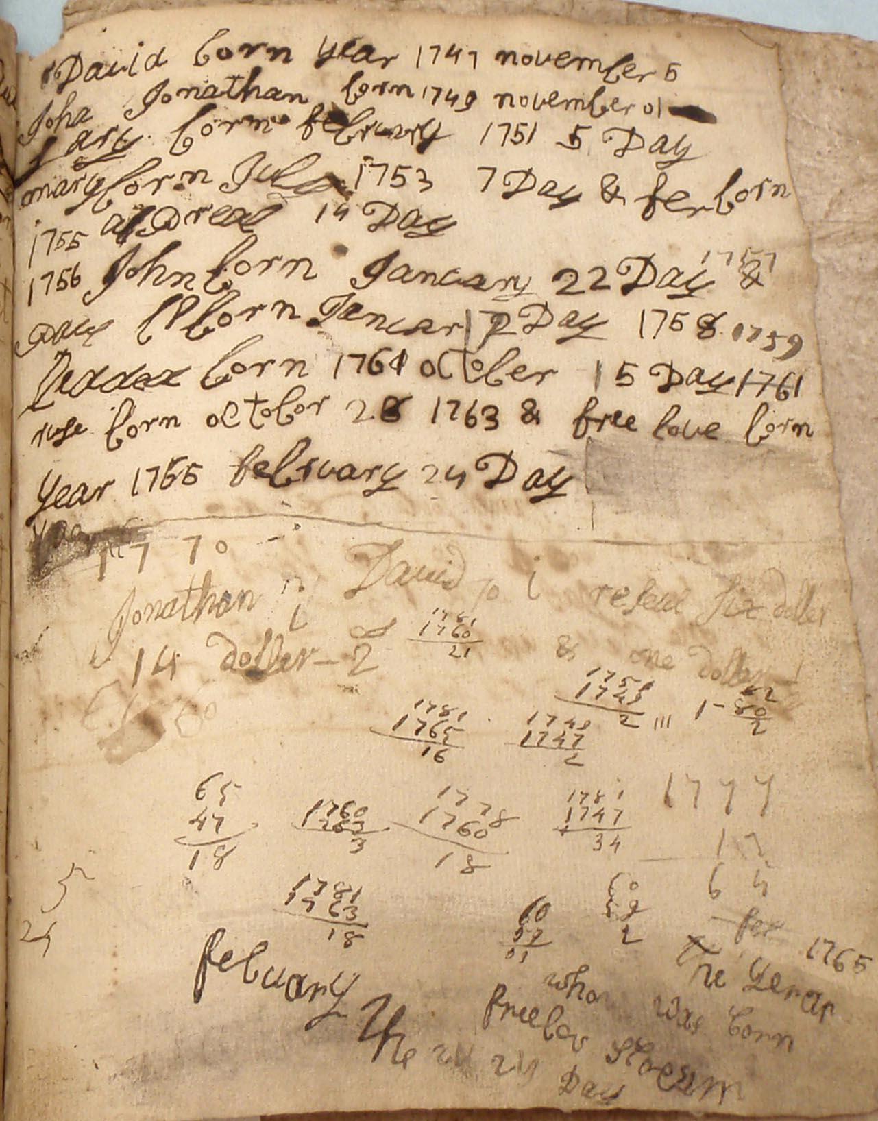 Cuff Slocum writing book, 18th c (Cuffe Papers, NBFPL)