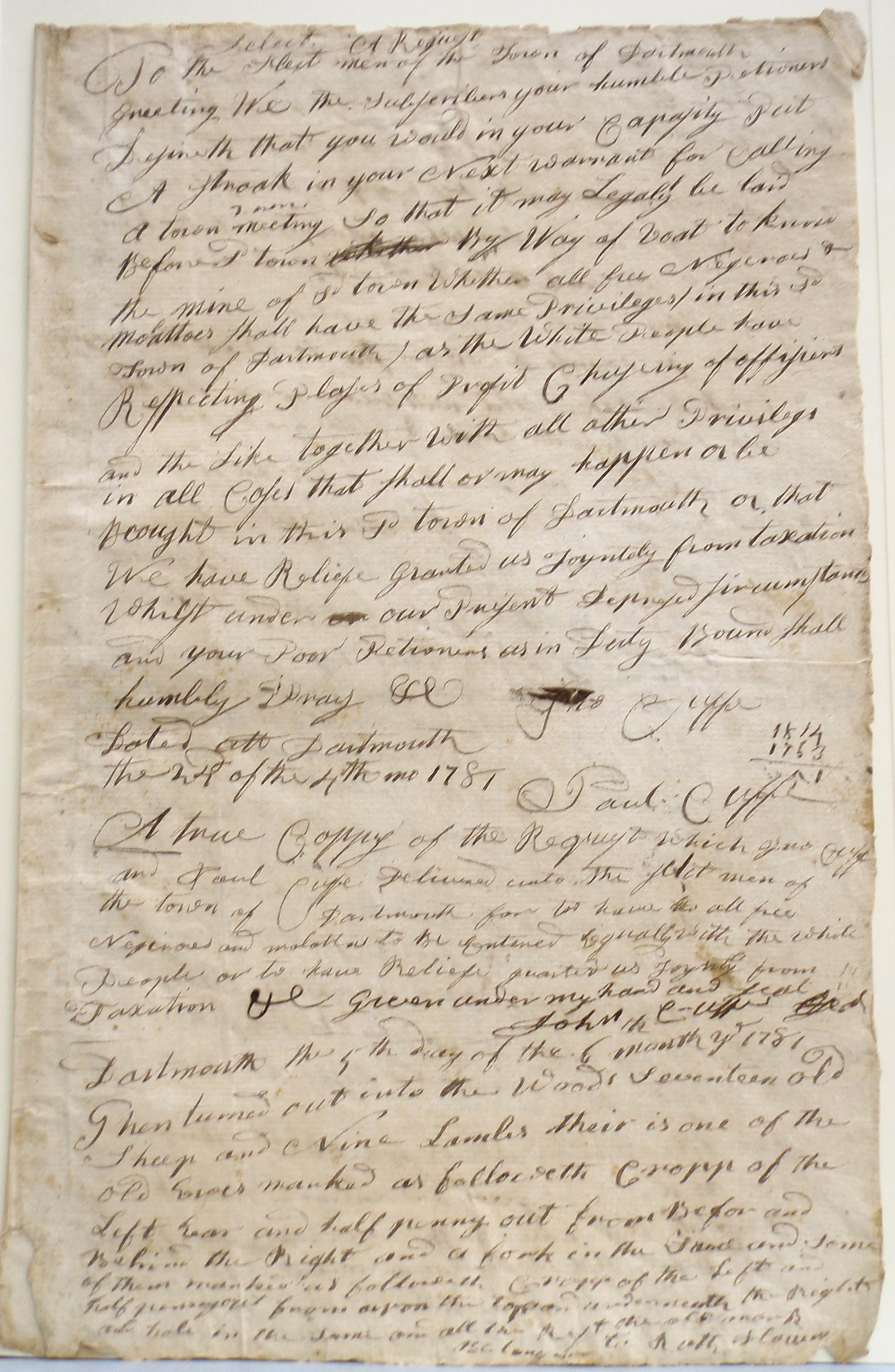 John & Paul Cuffe, Request to selectmen of Dartmouth