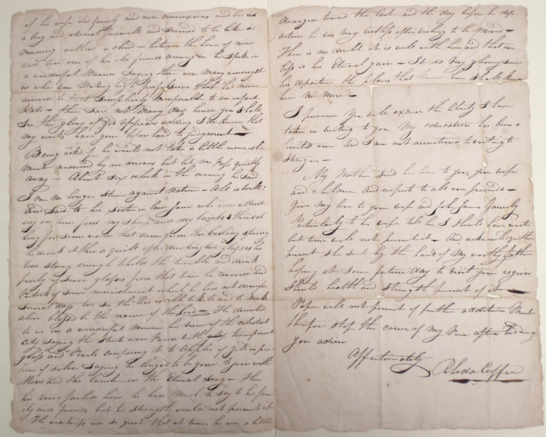 Rhoda Cuffe, Account of Paul Cuffe's death, 10 Sept 1817, 2-