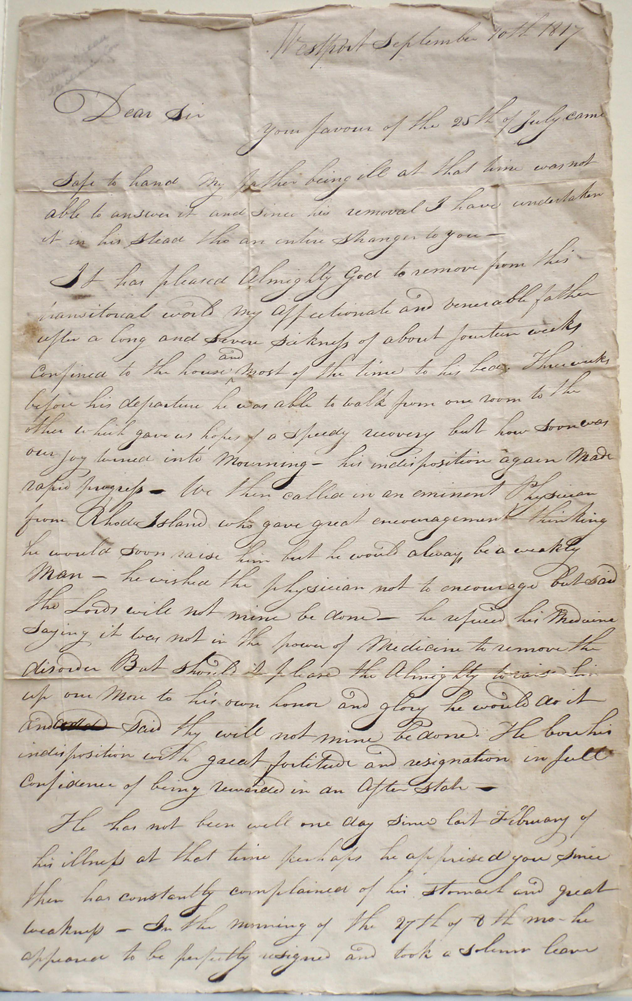Rhoda Cuffe, Account of Paul Cuffe's death, 10 Sept 1817 (Cu