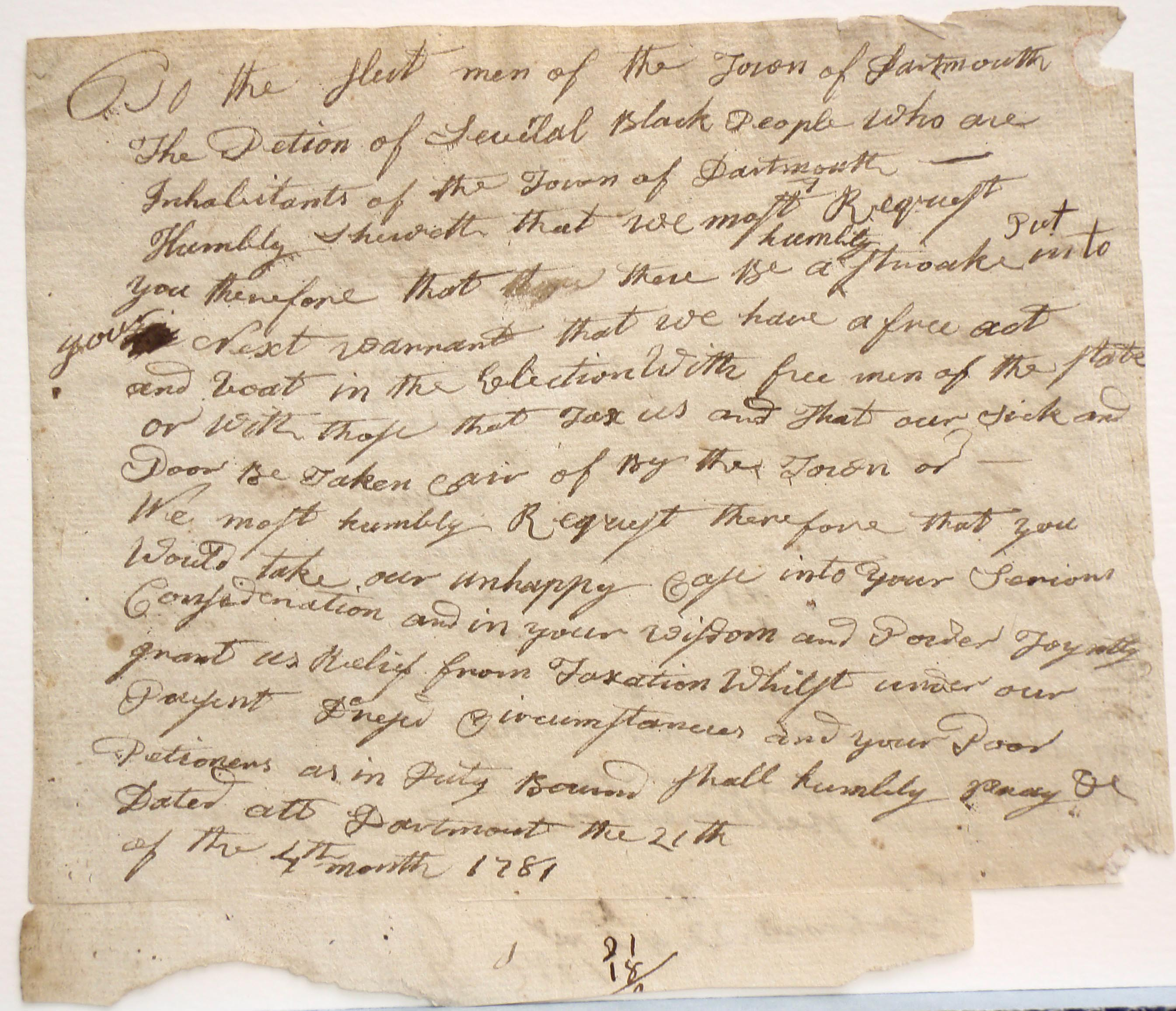 To selectmen of Dartmouth, 21 April 1781, draft (Cuffe Paper