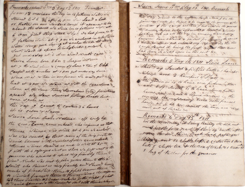 Traveller log book, 12-15 Nov 1811 (Cuffe Papers, NBFPL)