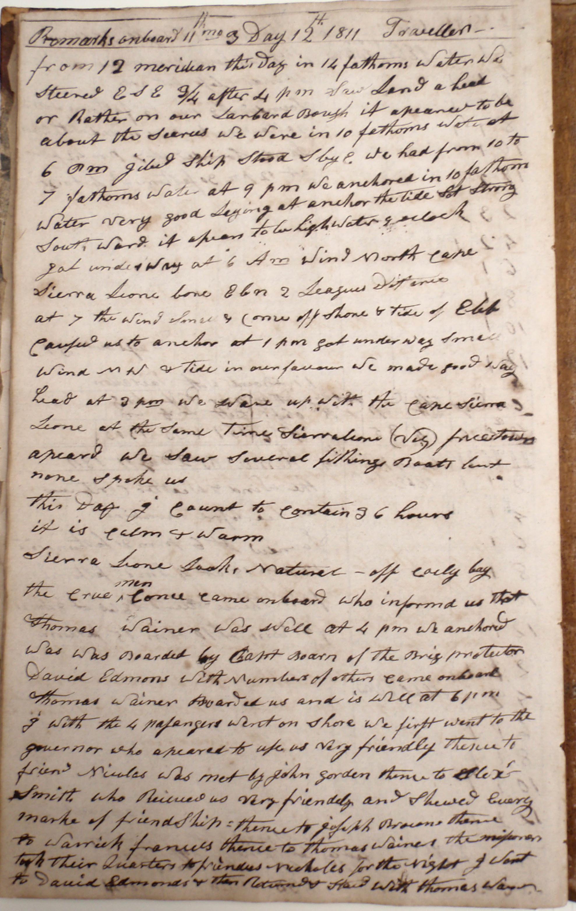 Traveller log book, 12 Nov 1811 (Cuffe Papers, NBFPL)