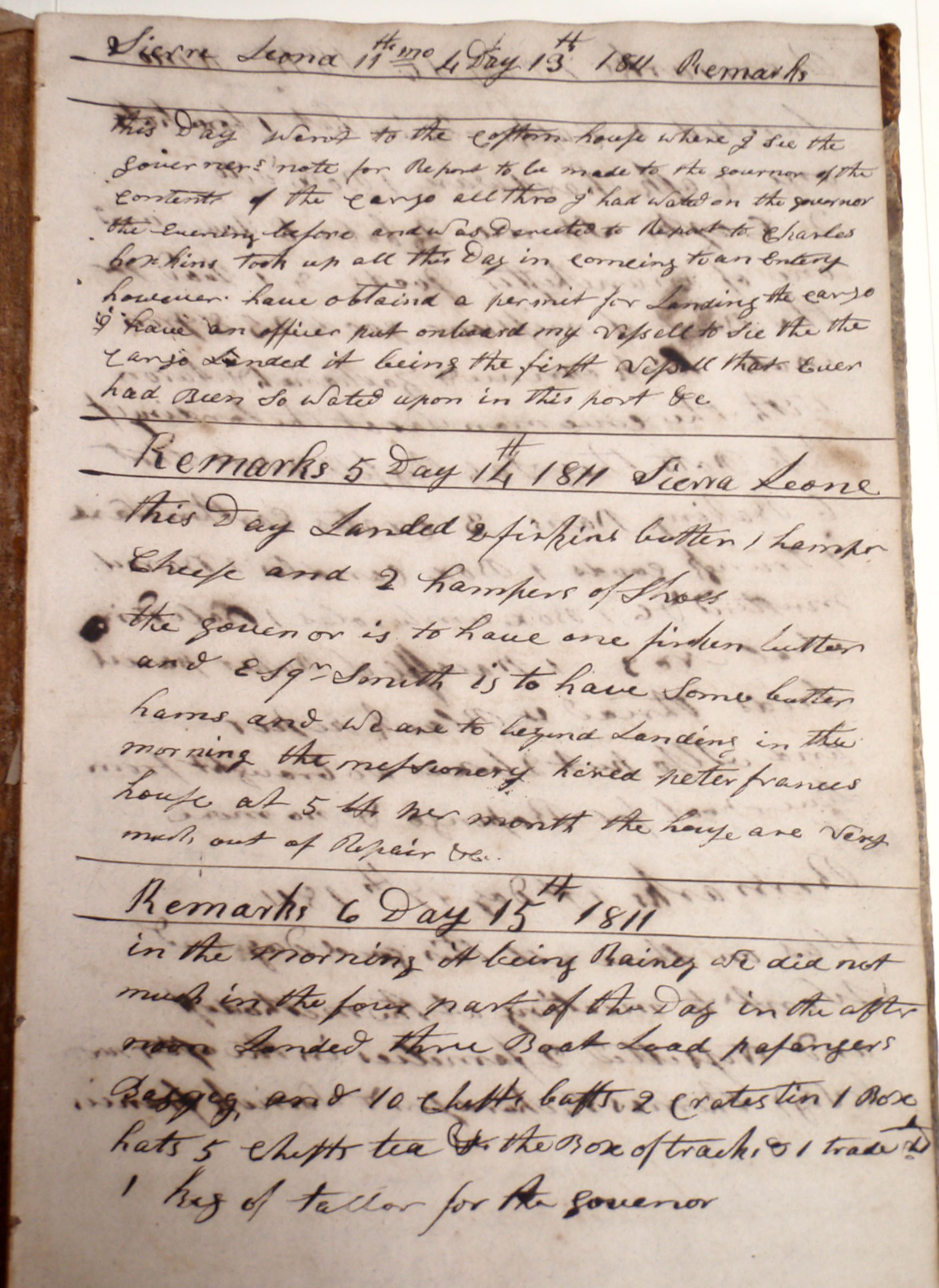 Traveller log book, 13-15 Nov 1811 (Cuffe Papers, NBFPL)