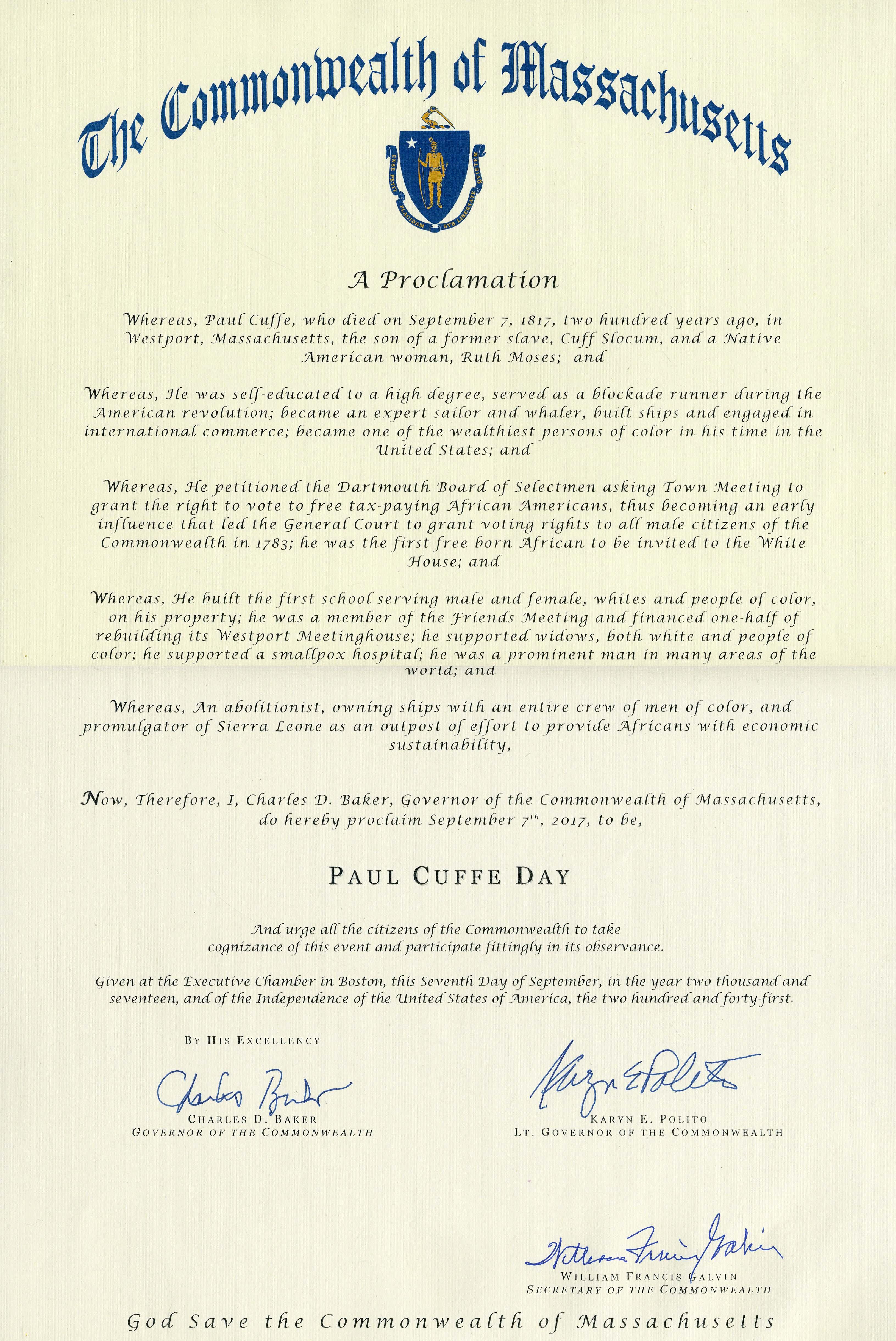 Cuffe proclamation 2018